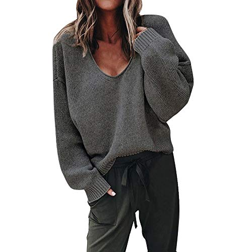 Women's Sweatshirt, FORUU Fashion Autumn Deep V-Neck Long Sleeve Solid Color Sweater Blouse Plus
