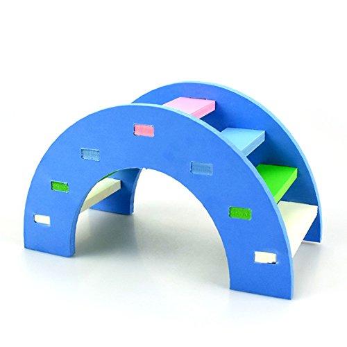 Hamster Toy Rainbow Bridge Seesaw - Small Pet Animals Wood Bridge Climb Playground Gift for Dwarf Syrian Hamsters Mice Rat (Blue)
