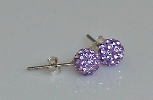 6MM Stud Earrings with Beautiful Sparkly CRYSTALS RHINESTONES - Lavender