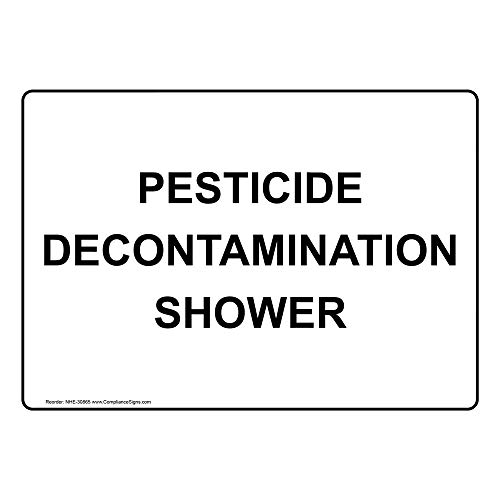 Pesticide Decontamination Shower Label Decal, 5x3.5 in. 4-Pack Vinyl for Emergency Response Industrial Notices Facilities Hazmat by ComplianceSigns
