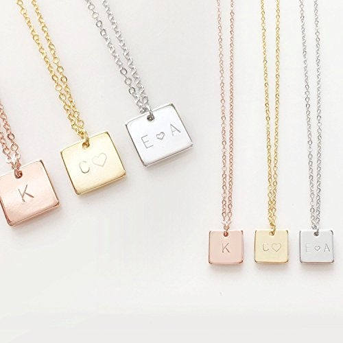 bridesmaids gold four necklace of bridesmaid gift initial personalized pin set