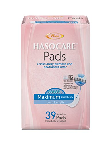 HASOCARE Incontinence Pads (Extra Wide, Ultra Thin) For Women, Maximum Absorbency , Long Length, 39 Count