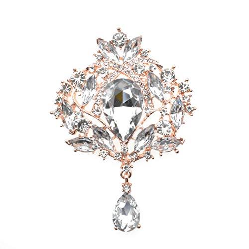 Yilanair Wedding Bridal Big Crystal Rhinestone Bouquet Brooch Pin for Women (Rose Gold)