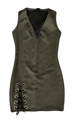 V Militare Mini Finto Cromoncent Maniche Stringate Bodycon Womens Verde Senza Abito collo Camoscio HwCqB4Xx