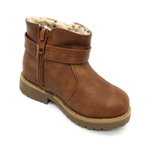 Blue Berry EASY21 Girls Zip Mid Calf Motorcycle Toddler/Infant Winter Boots WARM-14F,Tan,Size 9
