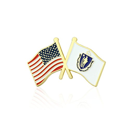 GS-JJ American and Massachusetts State Crossed Friendship Flag Enamel Lapel Pin (5 Pack)