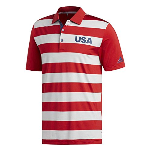 Usa Rugby Shirts - adidas Golf Men's Ultimate 365 Rugby Usa Edition Polo, XX-Large, Scarlet/Scarlet/TMAG Grey Four Heather