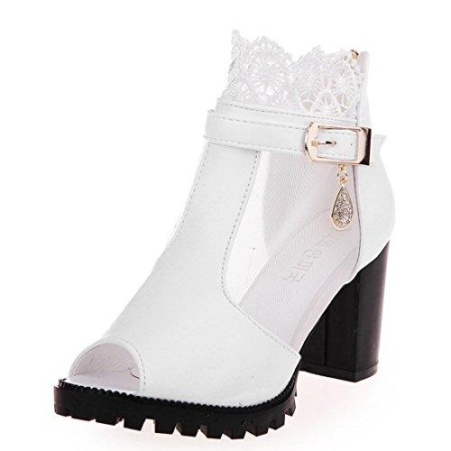 IGEMY Frauen Metall Schnalle Spitze Zipper Rough High Heels Sandalen