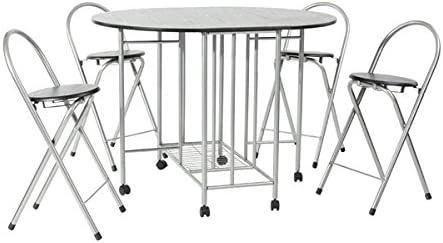 Juego de mesa plegable de comedor y 4 sillas, 5 elementos, mesa de ...