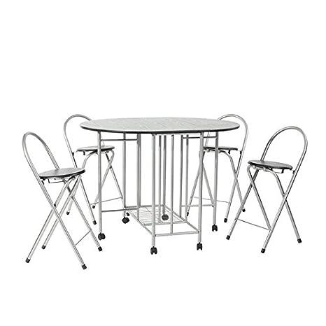 Juego de mesa plegable de comedor y 4 sillas, 5 elementos, mesa de comedor