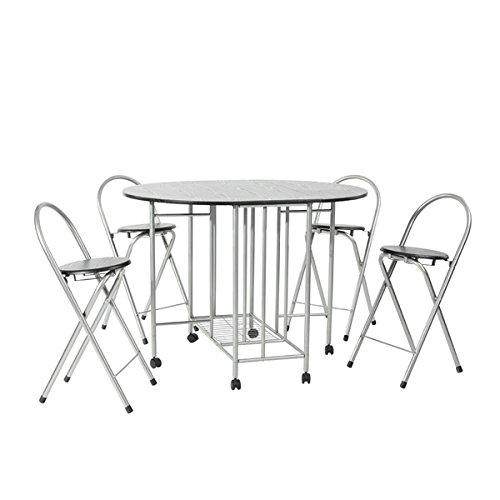 Juego de mesa plegable de comedor y 4 sillas, 5 elementos ...