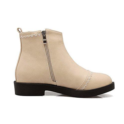 Material Low Solid Top AgooLar Apricot Niedriger Zipper Stiefel Heels Frauen Soft qFn5nwHp6I