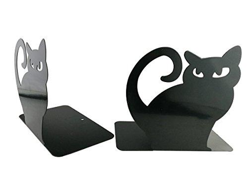 Tobson Cute Cartoon Animal Metal Heavy Nonskid Bookends Art Bookend,1Pair (Black Cat)