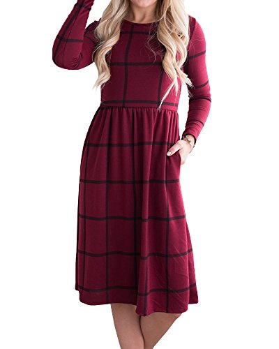 Long Sleeve Printed Tunic Dress (YOMISOY Womens Plaid T Shirt Dress Casual Long Sleeve Printed Tunic Midi Dresses)