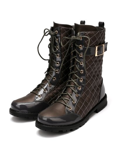 Bumper Finny06 Leatherette Quilted Lace Up Buckle Mid Calf Boot - Grey aYz3iYveu