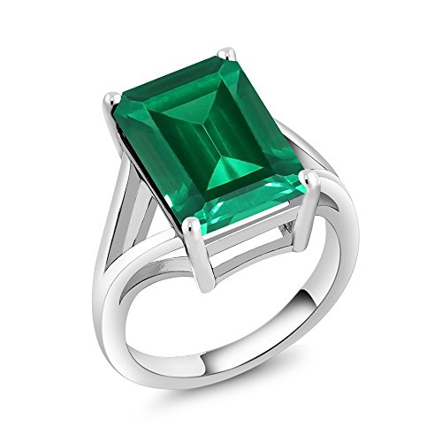 925 Sterling Silver Green Simulated Emerald Solitaire Ring (6.50 Ct Emerald Cut Available in size 5, 6, 7, 8, 9) (Emerald Solitaire)