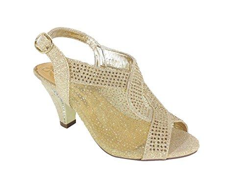 Première Vue Femmes Bout Ouvert Mi-talon Mariage Strass Sandale Chaussures Kinmi03 Or