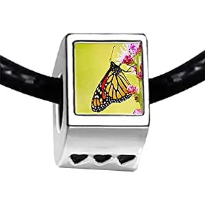 Chicforest Silver Plated Beautiful Gather Pollen Butterfly Photo Three Heart Charm Beads Fits Pandora Charms