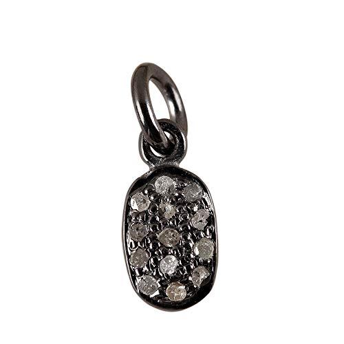 Natural 0.11 Ct. Diamond Pave Designer Charm Pendant Solid 925 Sterling Silver Vintage Style Fine Jewelry (0.11 Ct Diamond Pendant)