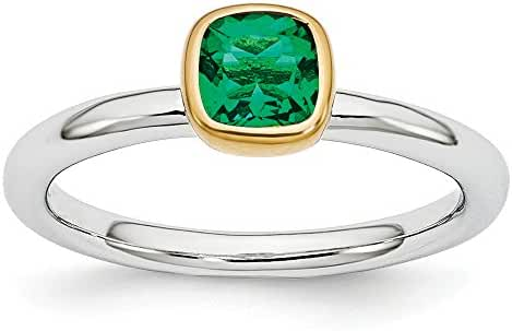 Two Tone Sterling Silver Stackable 5mm Cushion Created Emerald Ring