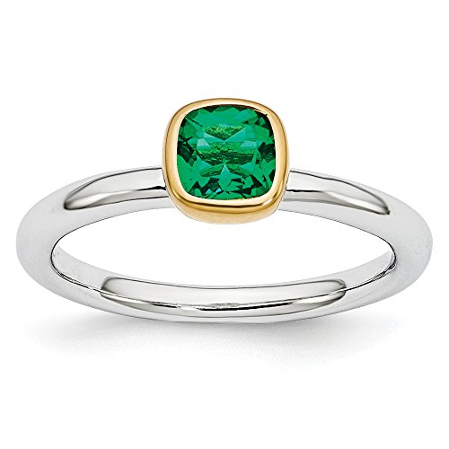 - Two Tone Sterling Silver Stackable 5mm Created Emerald Ring Size 7