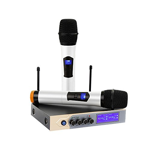 UHF Wireless Microphone System, Dual Handheld Karaoke Microphone with 2 Handheld Mics for Home KTV,Church,Small karaoke Night, Outdoor Wedding, Conference, Speech by Tsumbay
