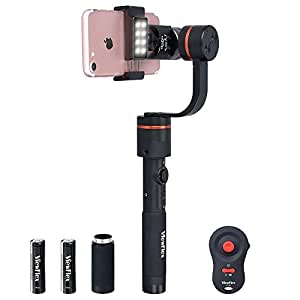 ViewFlex S PRO 3 Axis Smartphone Handheld Camera Video Gimbal Stabilizer for iPhone X/8plus/7Plus/6sPlus/6Plus/8/7/6s, Samsung Galaxy S8+/S8/S7/S6/Note 8, with APP Control, Zooming Auxiliary Light