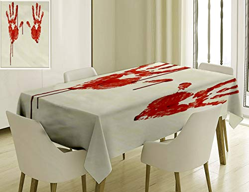 (Nalagoo Unique Custom Cotton and Linen Blend Tablecloth Handprint Like Wanting Help Halloween Horror Scary Spooky Flowing Blood Themed Print Red WhiteTablecovers for Rectangle Tables, 70 x 52)