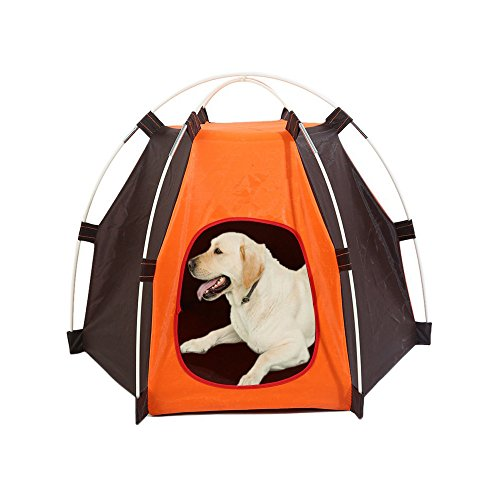 Lifeunion Waterproof Pet Dog Tent House Detachable Pet Hexagon Kennel Tent with Extra Strong Stick, Crate for Small Medium Dog Outdoor Activities(Orange-1)