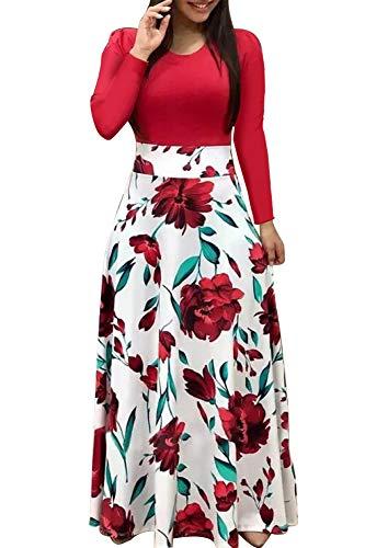 (Demetory Women`s Summer 3/4 Sleeve Empire Waist Polka Dot Flowy Long Maxi Dress Red)