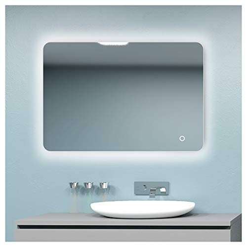 ROGSFN 36'x28' LED Hard Wire Circular Corner Large Backlit Anti-Fog Bathroom Vanity -