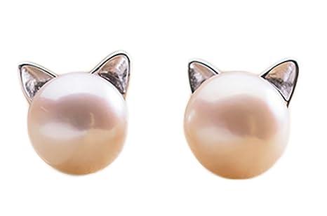 Cosanter Pendientes Las Perlas de Imitación del Pendientes la Forma del Gato para Mujeres de la