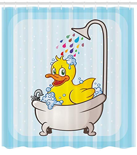 Ambesonne Duck Shower Curtain, Cartoon Character Taking a Bath Colorful Drops Blue Backdrop with Dots Kids Nursery, Cloth Fabric Bathroom Decor Set with Hooks, 75 Inches Long, Multicolor