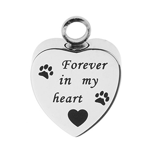 SunniMix Cute Paw Love Heart Shape Stainless Steel Pendant with Dog Cat Paw Print Pet Ash Holder Memorial Locket - Forever in my (Cat Heart Locket)