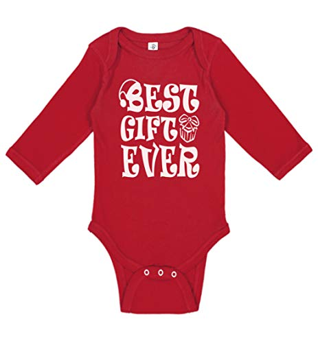 Baby Boy & Baby Girl My First Christmas Outfit | Cute Handmade, Screen Printed Infant Christmas Bodysuits (Gift Ever Red, Newborn (0-3 Fit)) (The Best Christmas Gift Ever)