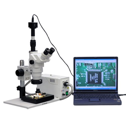 AmScope ZM-1TZ2-FOR-GT-10M Digital Professional Trinocular Stereo Zoom Microscope, EW10x and EW20x Eyepieces, 3.35X-180X Magnification, 0.67X-4.5X Zoom Objective, Fiber-Optic Ring Light, Large Pillar-Style Table Stand with Gliding Table, 110V-120V, Includ by AmScope