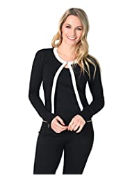KRISP Womens Basic Long Sleeve Jersey Cardigan Sweater With Pockets