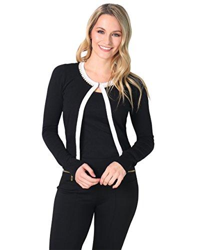KRISP Pearl Neck Silk Knitted Cardigan (Black, (Beaded Crop Jacket)