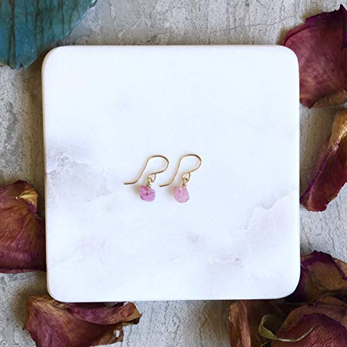 (Raw Earrings - Pink Tourmaline - Gold Filled)