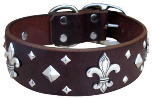 "Paco Collars - ""Fleur-De-Lis"" - Handmade Leather Large Dog Collar - 1.5""Wide - Silver - Black 24""-26"""