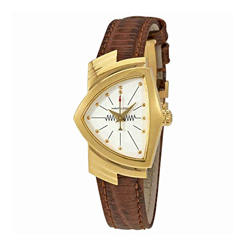 H24101511 Hamilton Ventura Womens Watch Rose Gold PVD Case White Dial Brown Leather NEW
