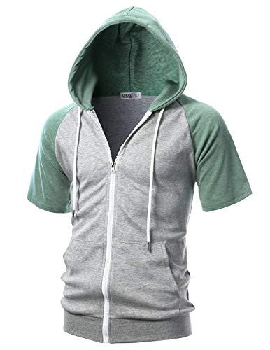 OHOO Mens Slim Fit Short Sleeve Lightweight Raglan Hoodie with Kanga Pocket/DCF137-GREY/JADEGREEN-S (Grey Nickel Apparel)
