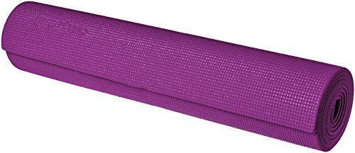 AmazonBasics Yoga & Exercise Mat with Carrying Strap, 1/4, Purple