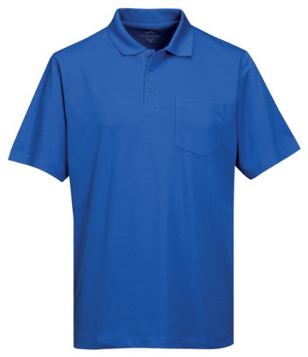 Tri-Mountain Men's 5 oz Moisture Wicking Polyester Shirt w/Pocket Royal - Square Shower Mountain