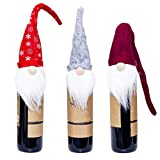 EORTA Set of 3 Wine Bottle Cover Toppers Santa Claus Hat with Snowy White Beard Christmas Decoration for Festival Party, Gift Package, Tableware, Red, Grey, Wine Red