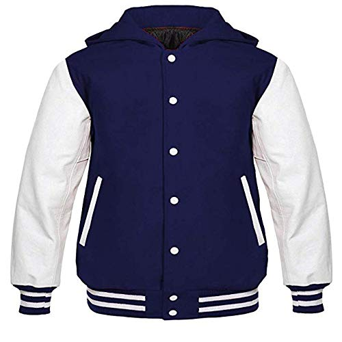 Experto Hoodie for Men's Navy Blue Wool Body & White Genuine Leather Sleeves Fashionable Letterman Varsity Jacket (M, Navy Blue/White) -