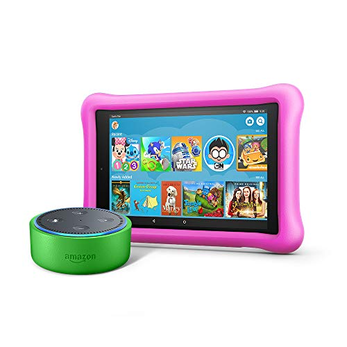 Echo Dot Kids Edition + Fire HD 8 Kids Edition (Green/Pink)