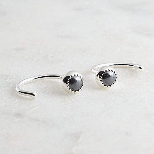 Hematite Stone 3mm Silver Open Hoop Hugger Hugging Earrings SS-R-D9M-20GA-3MM-Hematite by Fashion Art Jewelry