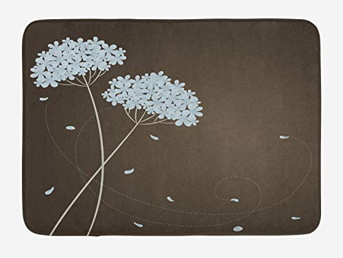 (Ambesonne Brown and Blue Bath Mat, Floral Design with Swirl Lines Falling Leaves Autumn Inspired, Plush Bathroom Decor Mat with Non Slip Backing, 29.5