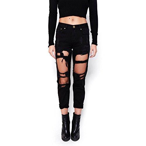 Mink Gal Women's Destoryed Boyfriend Ripper Denim Jeans Pants Colour Black Size XS